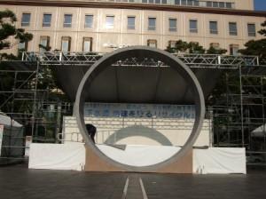 水道管の原寸大 輪切り模型。 千葉市よりの依頼。 製造・設置過程 直径約5m、幅約1m 発泡スチロール